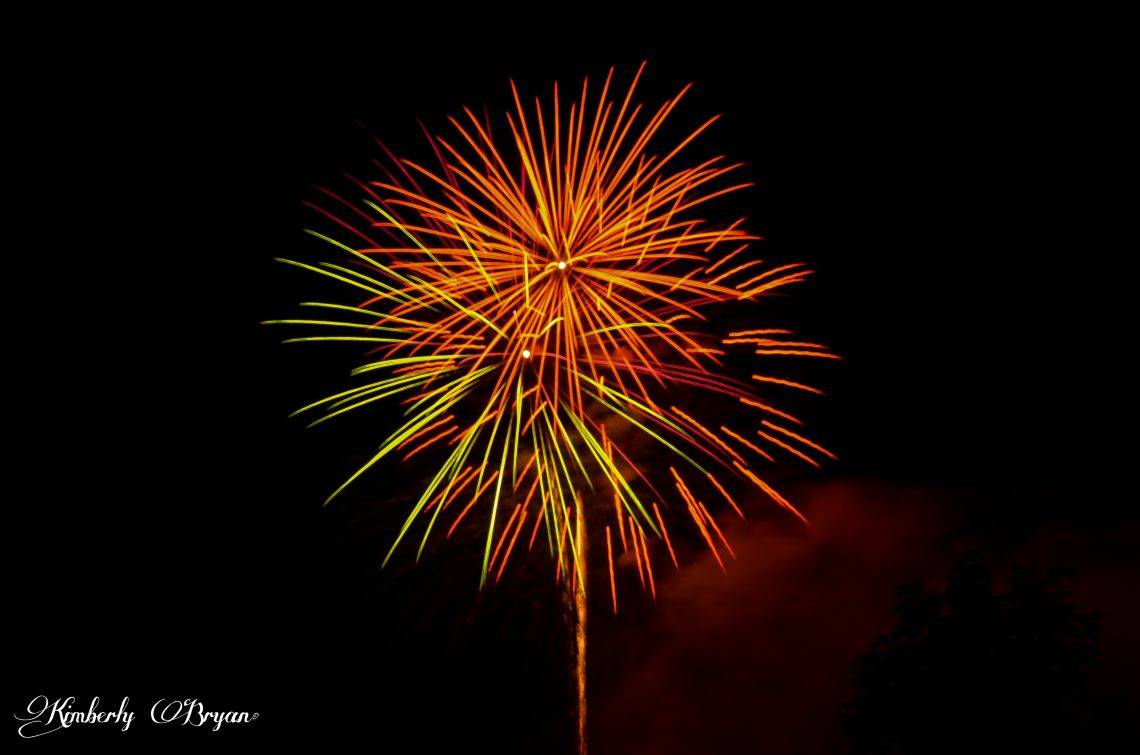 Green, red and blue fireworks.