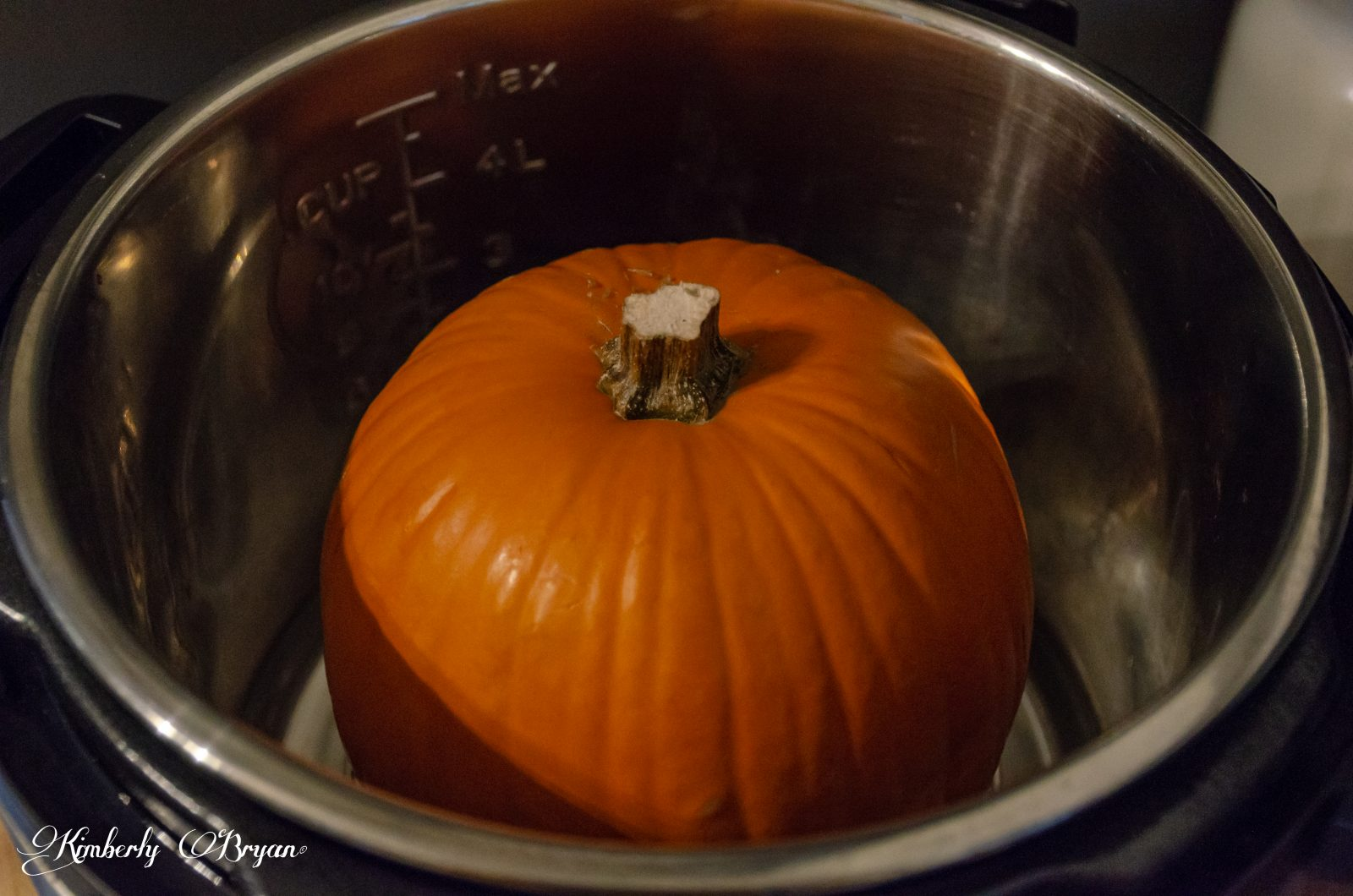 Sugar Pumpkin sitting on a rack in the Instant Pot.