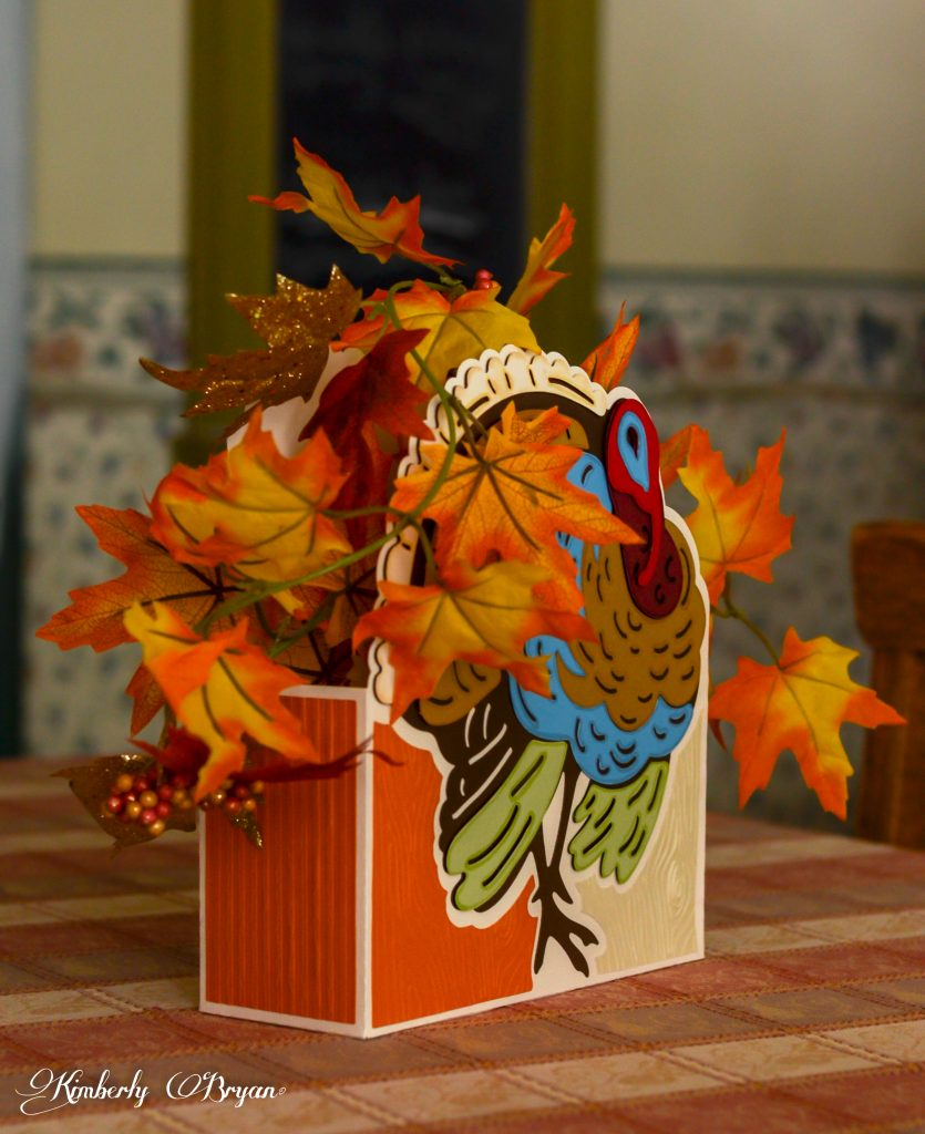 A side view of the Turkey Centerpiece.