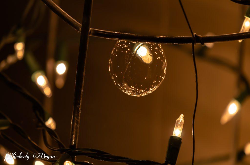Bubble near white Christmas lights.