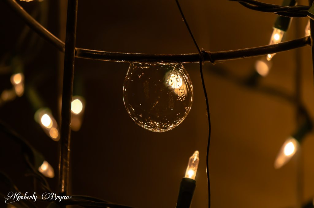 Blown bubble on the Christmas lights.