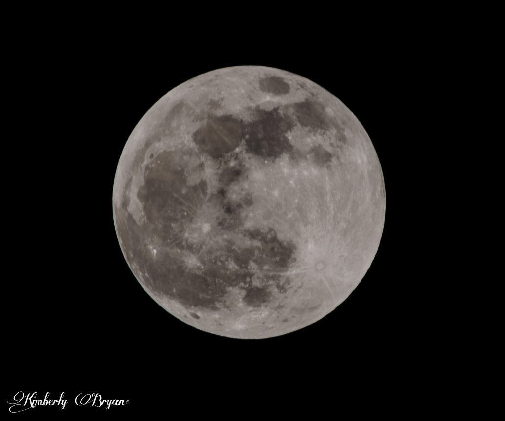 The Full Wold Moon before the eclipse began. In it's natural color brightly lit in the sky.