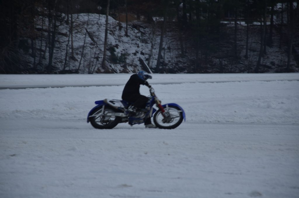Motor cycle racing event on the ice.