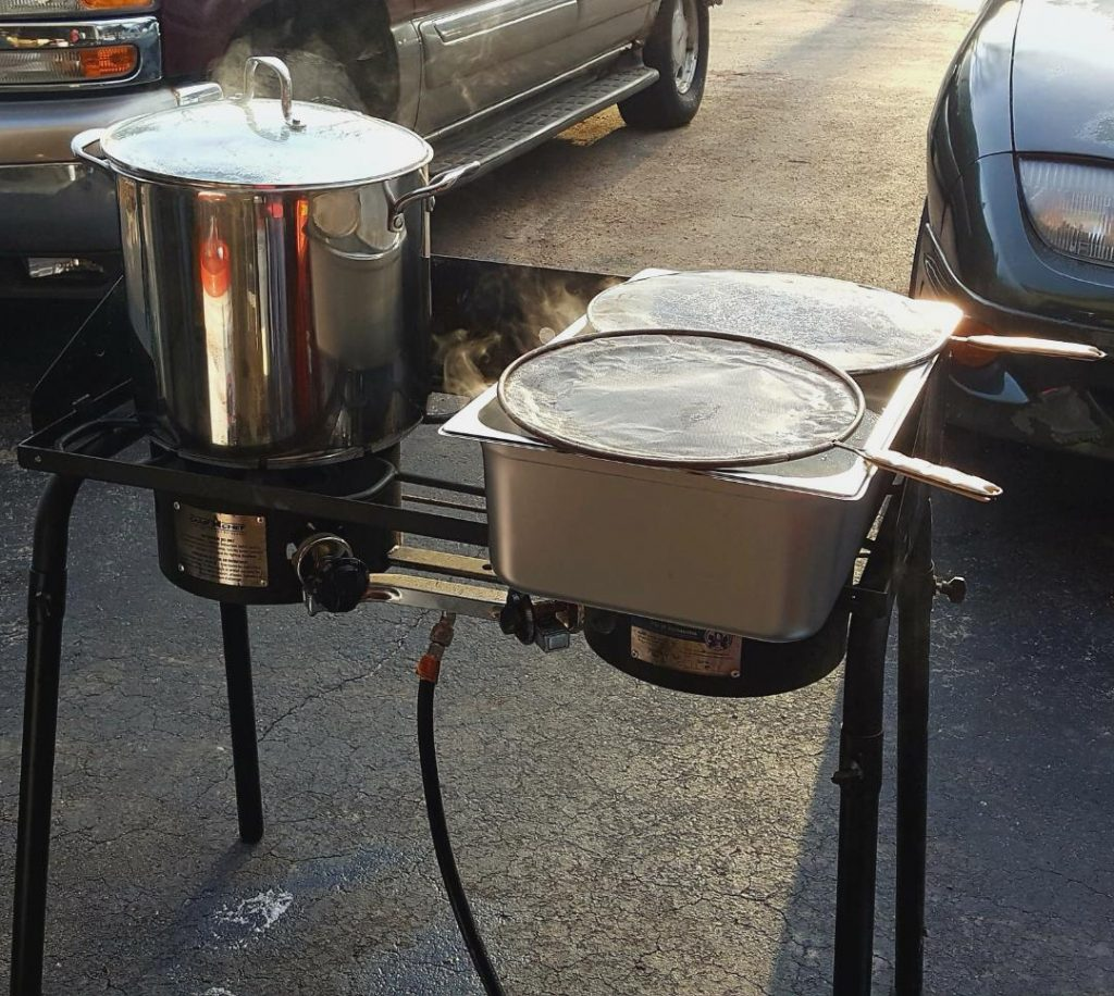 You are looking at a propane burner that I use for boiling down my sap. I use a two burner so I can cook two pots at a time.