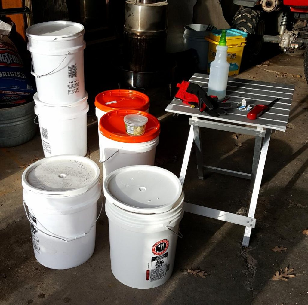 You are looking at 6, 5 gallon buckets full of collected maple sap. Ready to be boiled down into pure maple syrup.