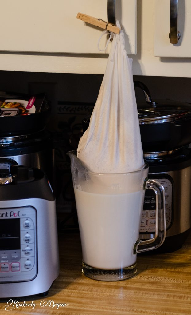 You are looking at almond milk being strained through the mesh bag that came with the Instant Pot Ace Blender.