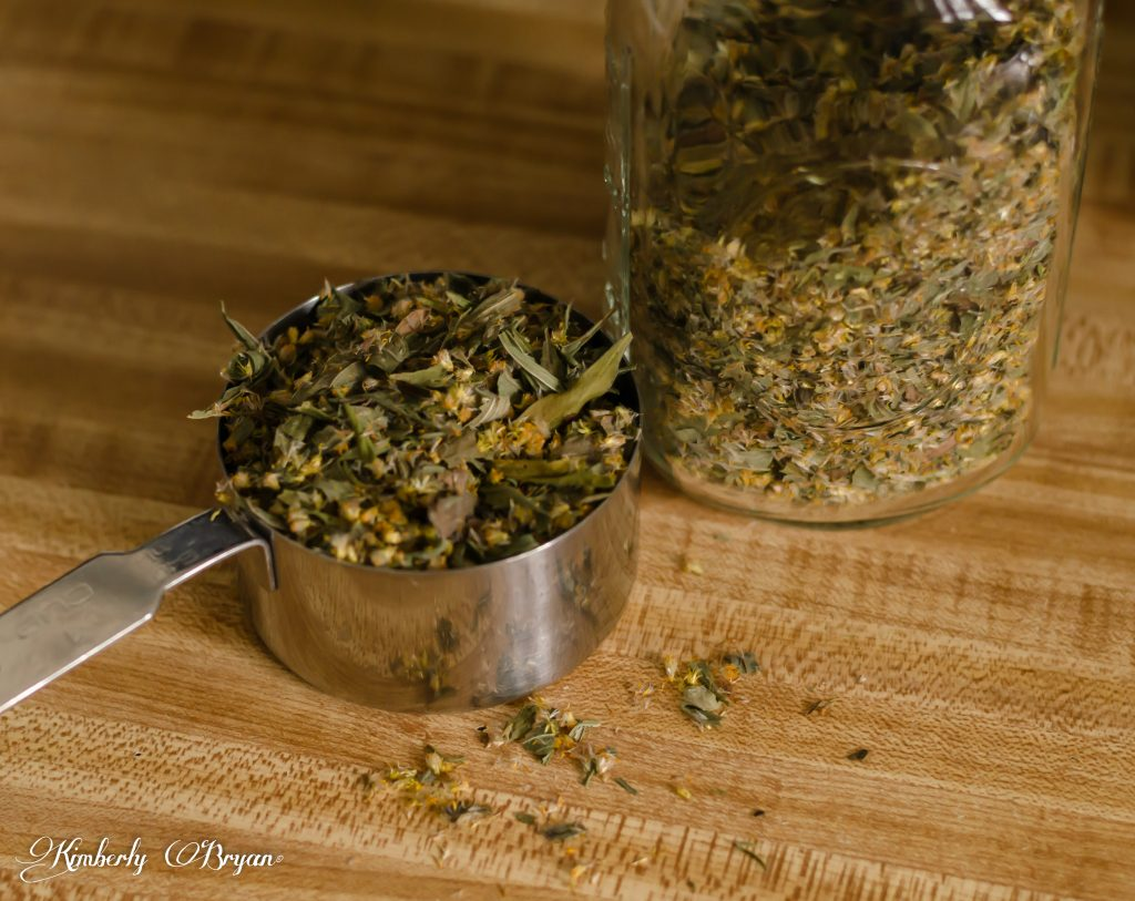 You are looking at dried goldenrod flowers and leaves. That will be used in oil infusion. For making soap.