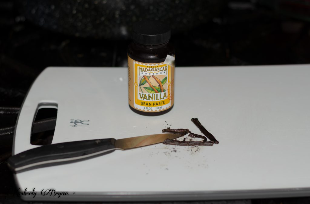 You are looking at a Vanilla Bean that I have scraped out it's seeds. This will go into the Lilac Jelly.