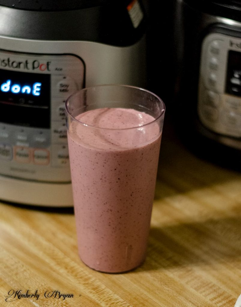 You are looking at a fruit smoothie, made with the Ace Blender. I used a berry mix with mango and a little yogurt.