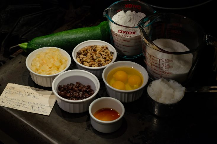You are looking at all the ingredients from my zucchini bread recipe ready to be mixed together.