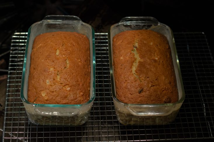 You are looking at Mom's zucchini bread fresh from the oven. It's golden brown and smells wonderful and sweet.