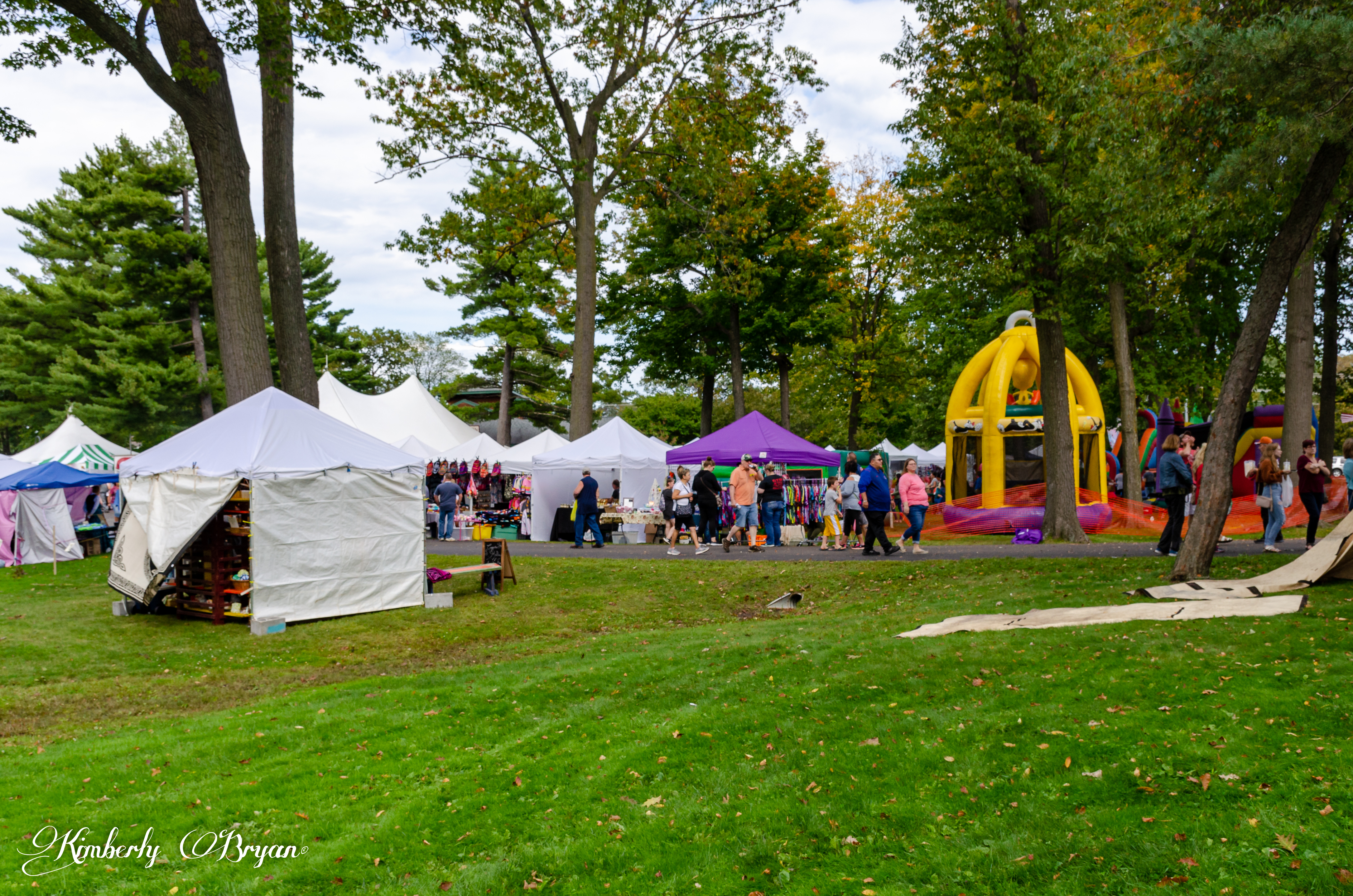 You are looking at some of the vendors tents along the walk way. As well as some areas for the kids to play. This is from my post Marshfield 27th Annual Fall Maple Fest.
