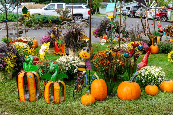 You are looking at some metal art work pumpkins for sale at the Marshfield 27th annual Maple Fest. From the post Marshfield 27th Annual Maple Fest post.