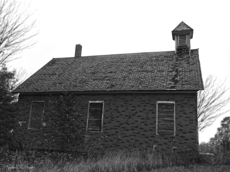 You are looking at an old church or school house in black and white. This building was abandoned, I'd love to buy this and bring it back to life. This photo is from my post, Happy Halloween.
