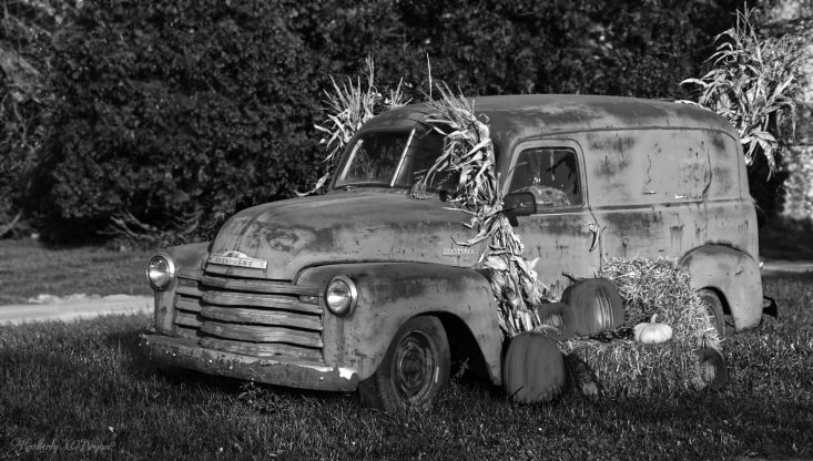 You are looking at an old delivery truck. All rusted and decorated with pumpkins and corn stalks. Ready for the Halloween events. This is from my post, Happy Halloween.