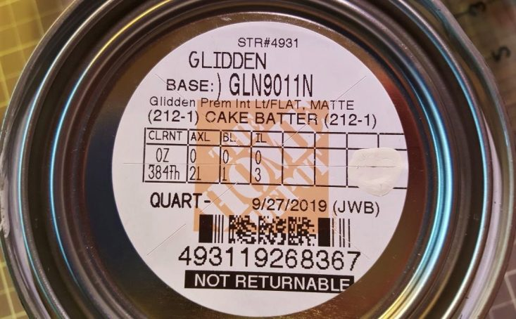 You are looking at the label of the paint I had mixed to make my own chalk paint. It's by Glidden and it's called Cake Batter in Matte.