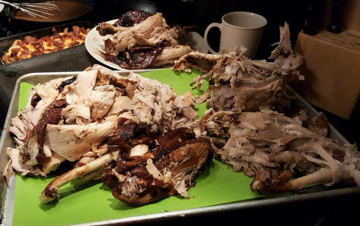 You are looking at the Happy Smoked Turkey Day, turkey carved and ready for serving. It was very flavorful and moist.