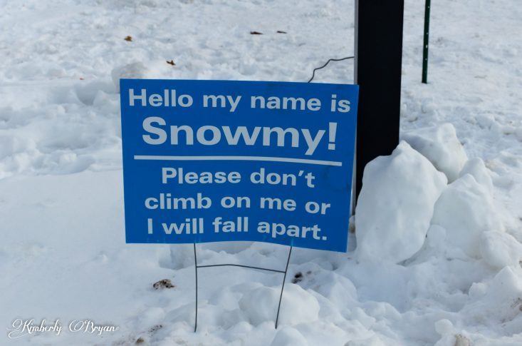 """You are looking at a sign which reads """" Hello my name is Snowmy! Please don't climb on me or I will fall a part"""". Snowmy is the name of the giant thirty foot snowman built in Minocqua, Wisconsin. He's become very famous around the world. I got to got visit him myself this past week he is quit big. with his base at eight feet high, Lots of folks come visit him from all over."""