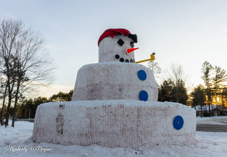You are looking at the side of a giant snowman, he's 30 feet high. I think he's the tallest snowman in Wisconsin. He's got a yellow painted pipe, with large blue painted buttons, and black diamond shaped eyes, with a cone nose.