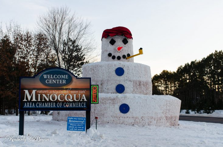 Merry Christmas From Big Stormy Kromer, The 30 foot snowman located in Minocqua, Wisconsin at the Area Chamber of Commerce.