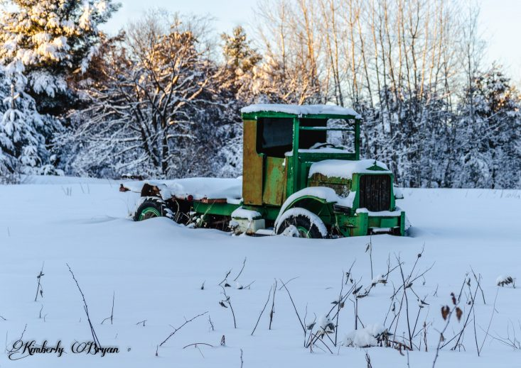 You are looking at an old abandoned truck out in the farm field. It's green with lots of rust. This is form my post, Happy New Year and Decade From Wisconsin.