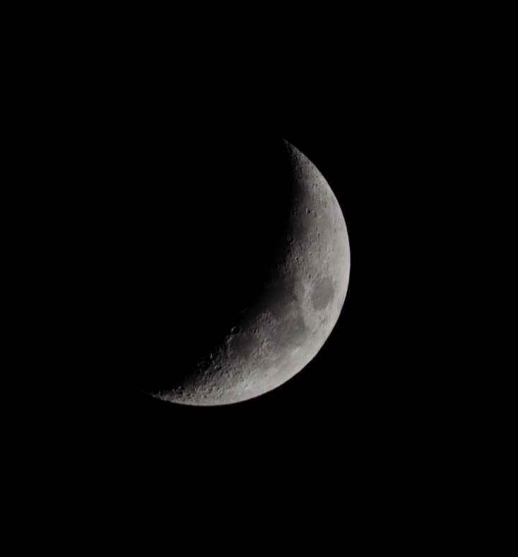 You are looking at the December Moon at 32.2% full, Waxing Crescent. This is from my post, Happy New Year and Decade from Wisconsin.