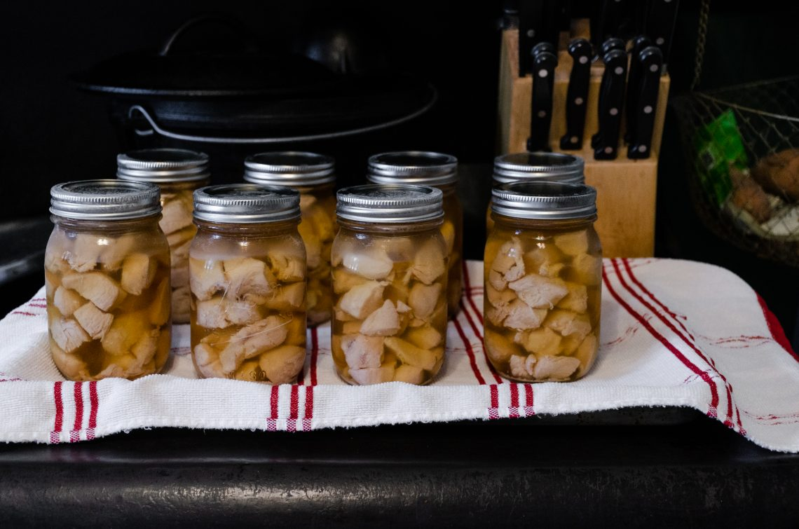 You are looking eight pint jars of canned chicken in chicken broth. This is from my post,Pressure Canning Chicken At Home Is Easy.