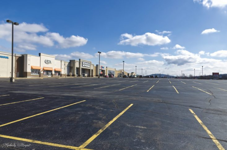 You are looking at non essential businesses closed for the shut in. The vast empty parking lot looks like a modern ghost town.