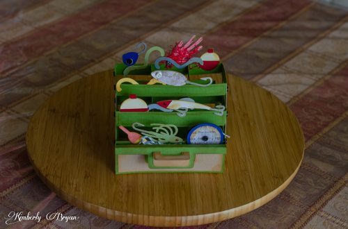 You are looking at the Tackle Box, 3D box card I made from the Sunday With Dad card kit. This card has several drawer layers to it. So it actually looks like an opened tackle box.