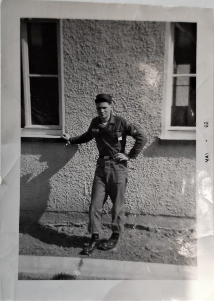 You are looking at a photo of my dad in black and white, from the 60's. He's in his Army uniform and was stationed in Germany for four years.