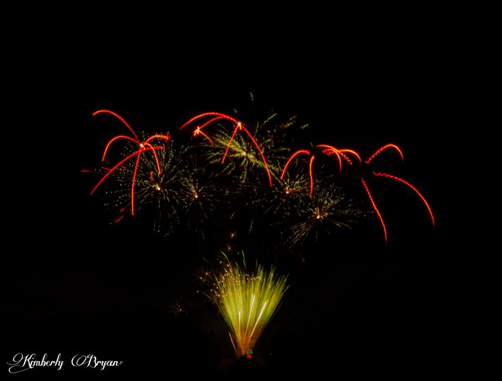 Happy 4th of July under the Full Moon. You are looking at a group of fireworks exploding in the night sky just under the moon. They are bright red, orange, yellow and white.