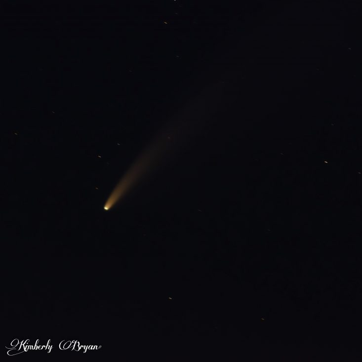 You are looking at the comet NEOWISE in the night sky. I was only able to photograph this historic event around midnight. As it wasn't up high enough in my area to view it earlier in the evening.
